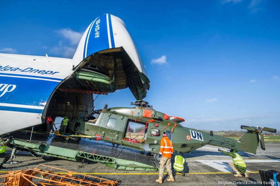 Two Belgian air force NH90 were transported to Mali by a Volga-Dnepr AN-124 cargo plane. They will join the German Detachment in Gao as part of the peacekeeping mission MINUSMA for at least 4 months