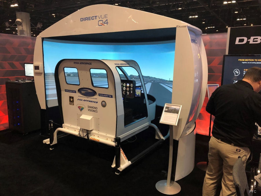 Precision Flight Controls (PFC) and Ryan Aerospace (Australia) featuring their newly FAA approved Bell 206/407 simulator at Heli-Expo 2018, Las Vegas, February 27-March 1