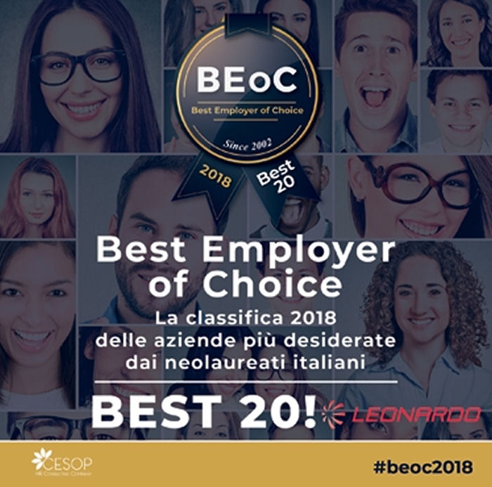 Leonardo Eight in the Best Employer Of Choice 2018