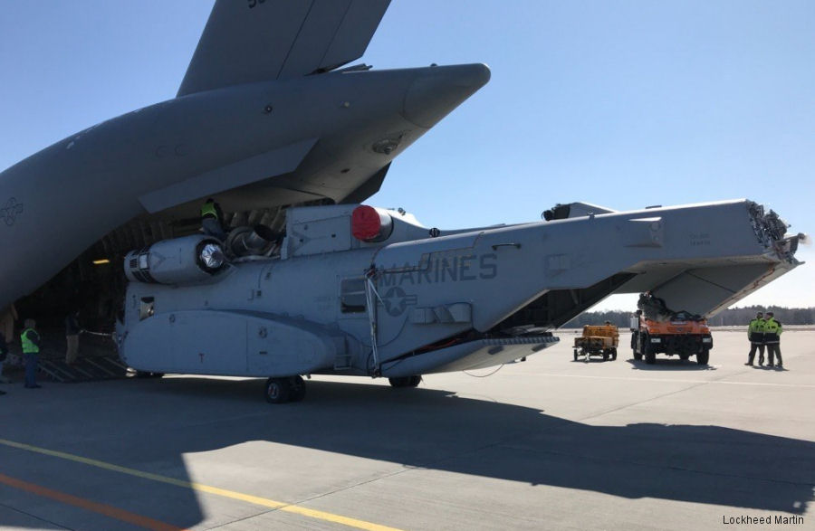 For the first time a CH-53K King Stallion has been loaded into a C-17  cargo plane. Was transported to Germany to take part of the ILA Berlin Airshow April 25-29
