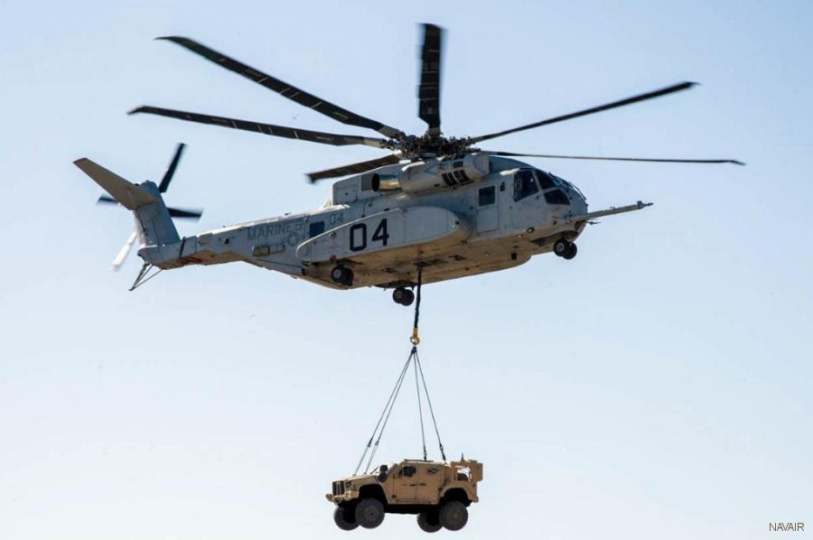 A CH-53K lifted a Joint Light Tactical Vehicle (JLTV). Using the single point hook, hovered up to 100 feet/31 meters for 10 minutes while carrying the 18,870 pound/8,500 kilograms vehicle