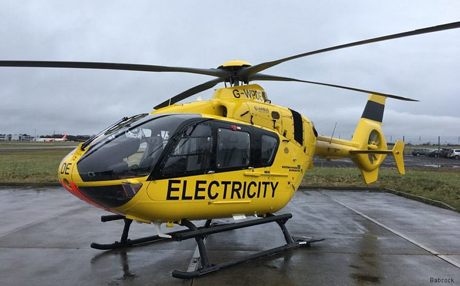 Babcock will upgrade Western Power Distribution (WPD) EC135P1/P2 fleet with a new mission system and interior. First scheduled to arrived Staverton facility July 2018 and all completed by end 2019