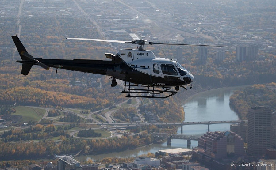Canada' Edmonton Police Service (EPS) received their third Airbus Helicopter, an AS350B3e/H125