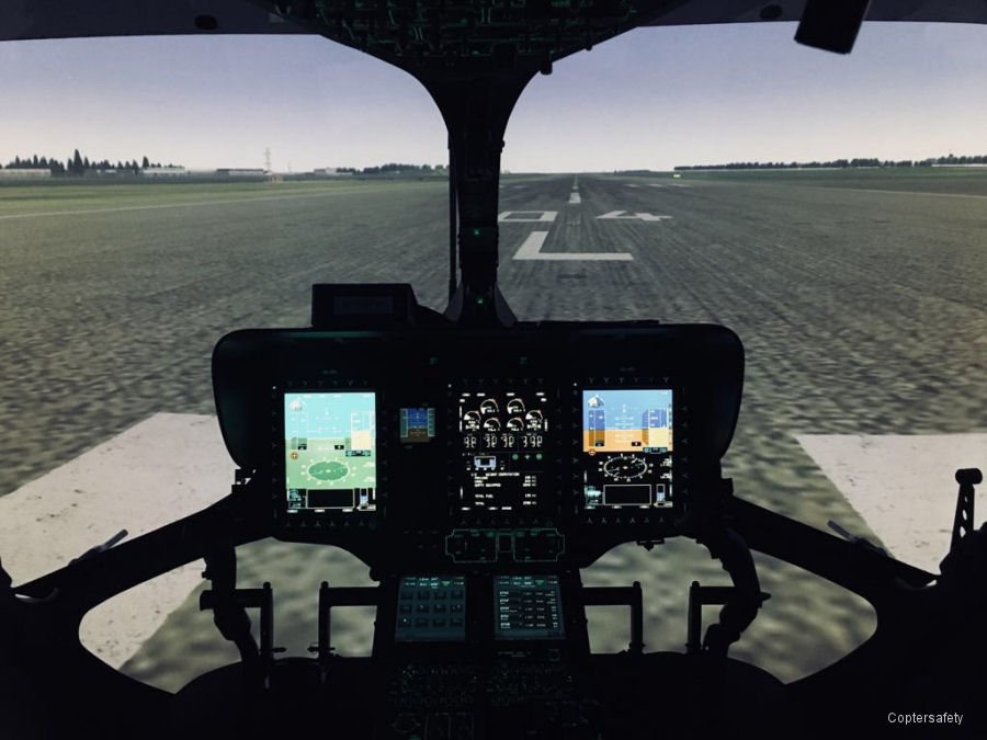 Coptersafety's H145/EC145T2 simulator, located near Helsinki International Airport in Finland and certified by EASA, has updated its avionics software with Helionix Step 2