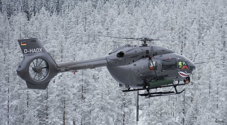 Advanced precision Thales fire laser guided rockets were tested with the H145M at the Älvdalen test range in Sweden