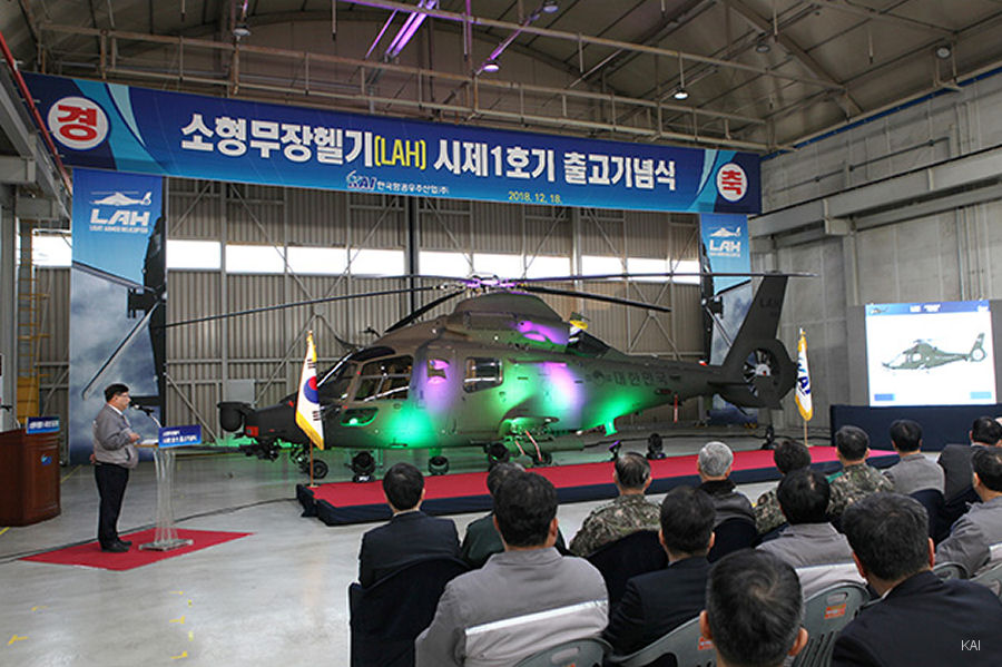South Korea Aerospace Industries (KAI) unveiled the prototype of the  Light Armed Helicopter in development as part of the LCH/LAH project