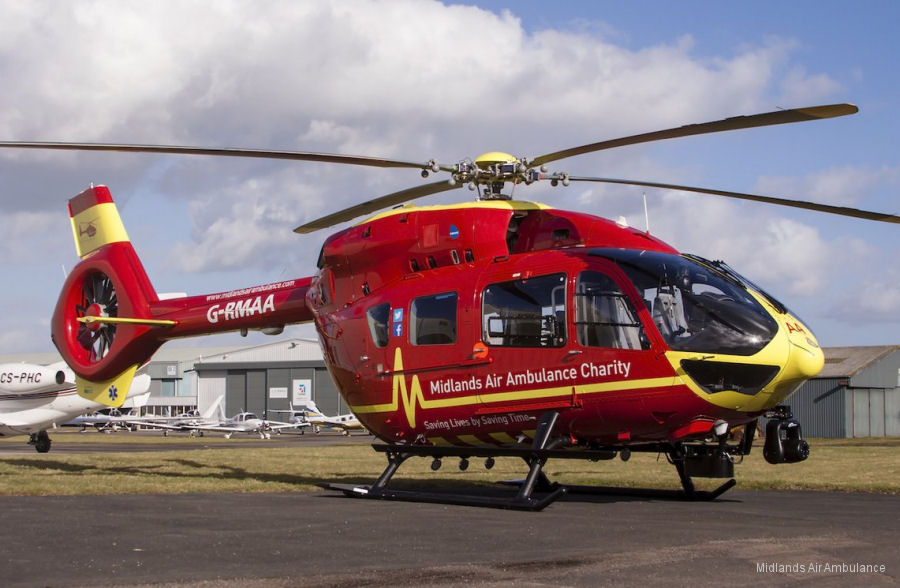 Midlands Air Ambulance formally received a brand new £7m H145/EC145T2 from Babcock Mission Critical Services in Gloucestershire. Will be operated by BMCS from RAF Cosford