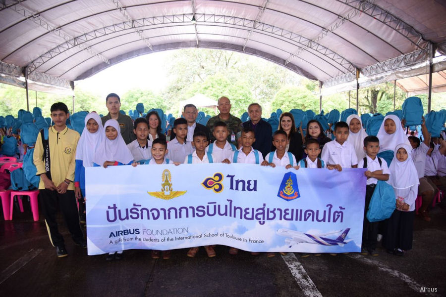The Airbus Foundation and Thai Airways International (THAI) organized   a goodwill delivery flight for donated kits sent to children at Narathiwas Province, Thailand