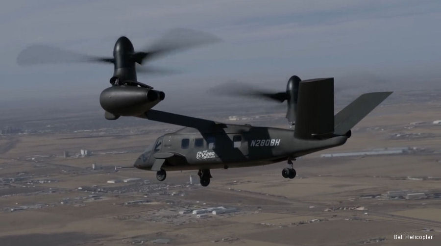 Bell V-280 Valor tilt-rotor reached a flight speed of 80 knots ~ 148 km/h flying at an altitude of 1,000 feet ~ 304 meters