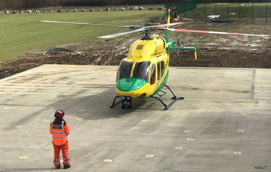 Wiltshire Air Ambulance Bell 429 landed for the first time at the new base Outmarsh Farm at Semington, near Melksham, England