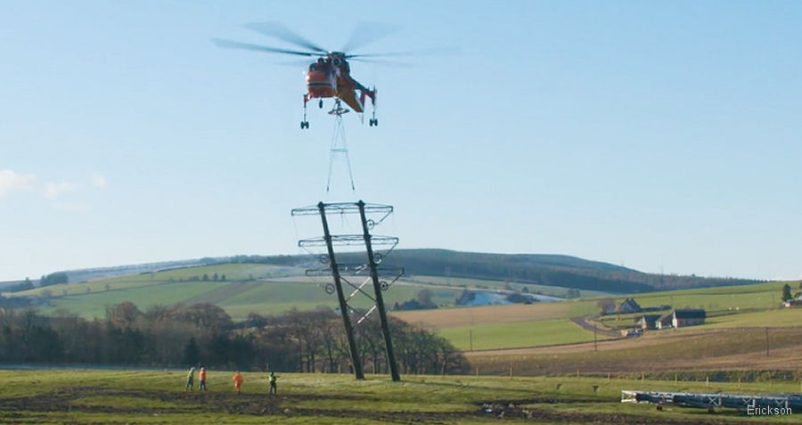 Erickson S-64E air crane with Balfour Beatty to build a transmission line for Scottish and Southern Electricity Networks (SSE) connecting Dorenell Wind Farm between Aberdeen and Inverness