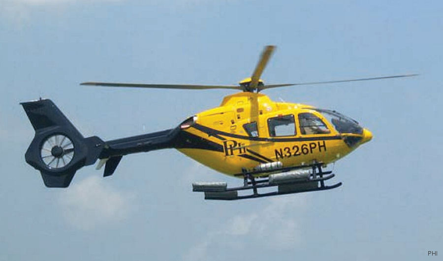Helicopter Eurocopter EC135P2 Serial 0435 Register N326PH used by PHI Inc. Built 2006. Aircraft history and location