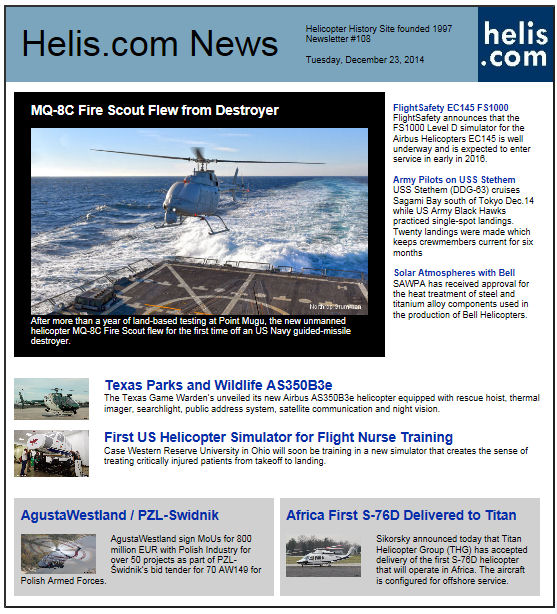 Helicopter News December 23, 2014 by Helis.com