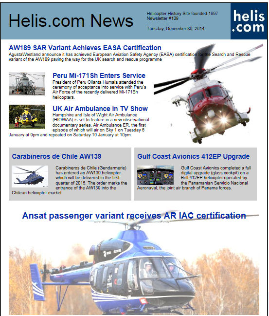 Helicopter News December 30, 2014 by Helis.com