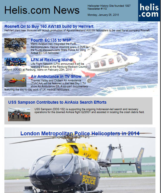 Helicopter News January 05, 2015 by Helis.com