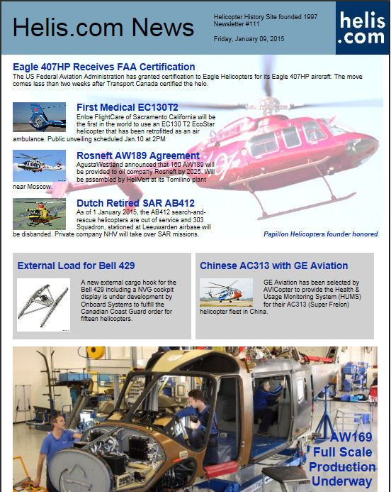Helicopter News January 09, 2015 by Helis.com