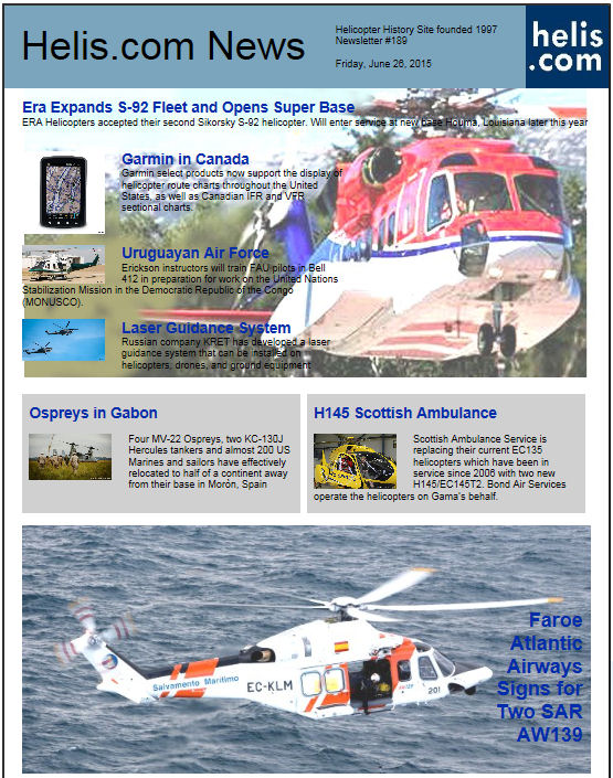 Helicopter News June 26, 2015 by Helis.com