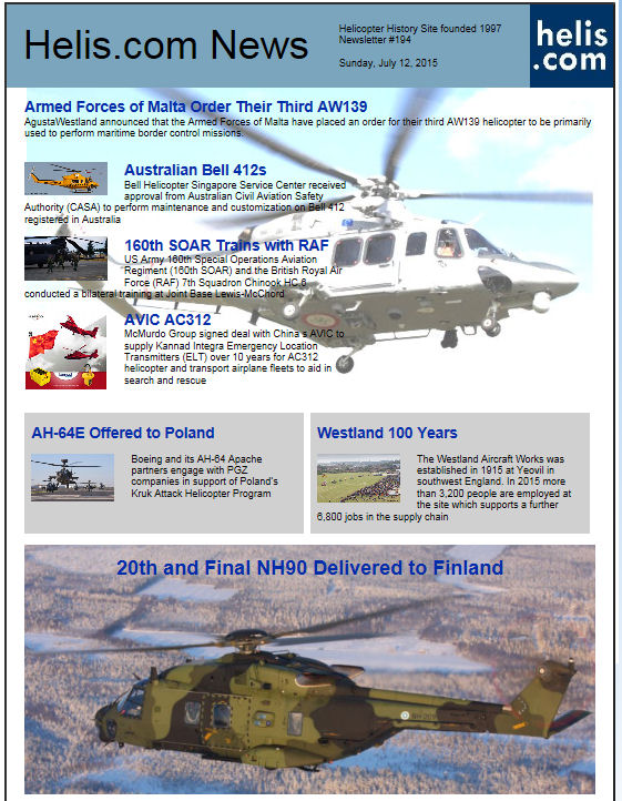 Helicopter News July 12, 2015 by Helis.com