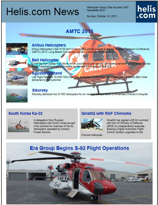 Helicopter News October 18, 2015 by Helis.com