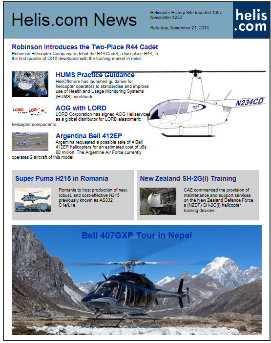 Helicopter News November 21, 2015 by Helis.com