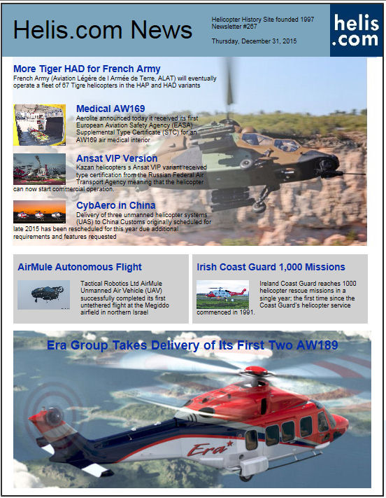Helicopter News December 31, 2015 by Helis.com