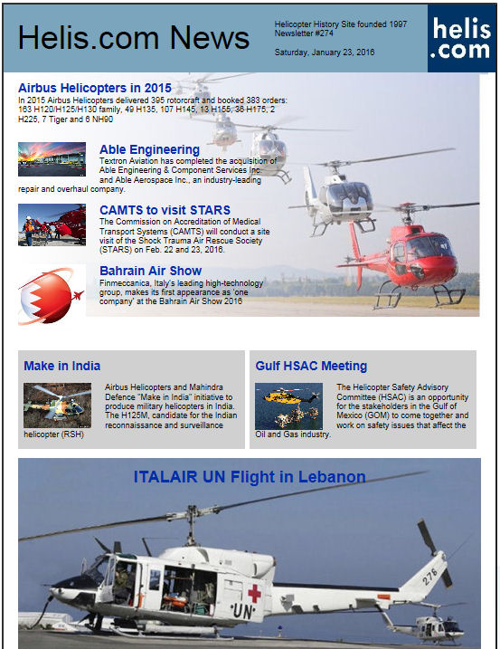 Helicopter News January 23, 2016 by Helis.com