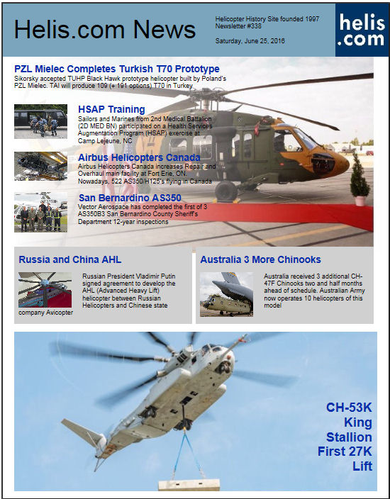 Helicopter News June 25, 2016 by Helis.com