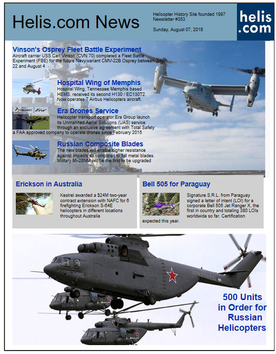 Helicopter News August 07, 2016 by Helis.com