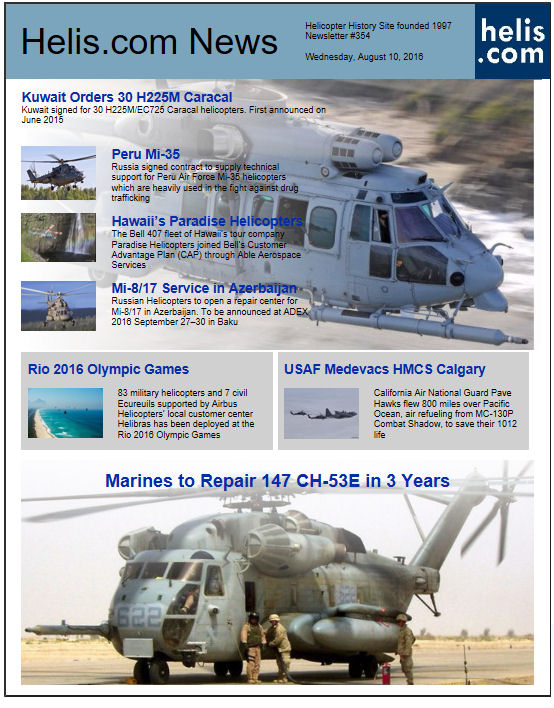 Helicopter News August 10, 2016 by Helis.com