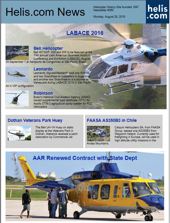 Helicopter News August 29, 2016 by Helis.com