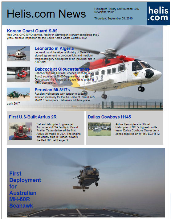 Helicopter News September 08, 2016 by Helis.com