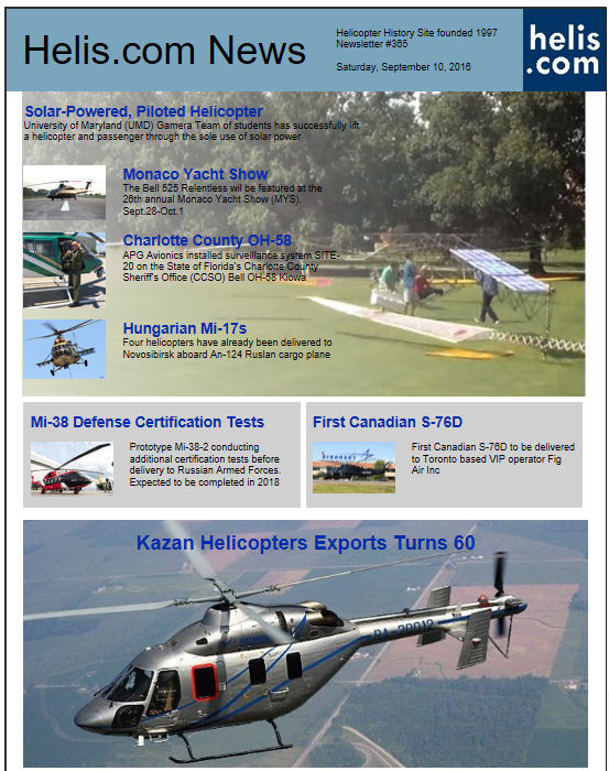 Helicopter News September 10, 2016 by Helis.com