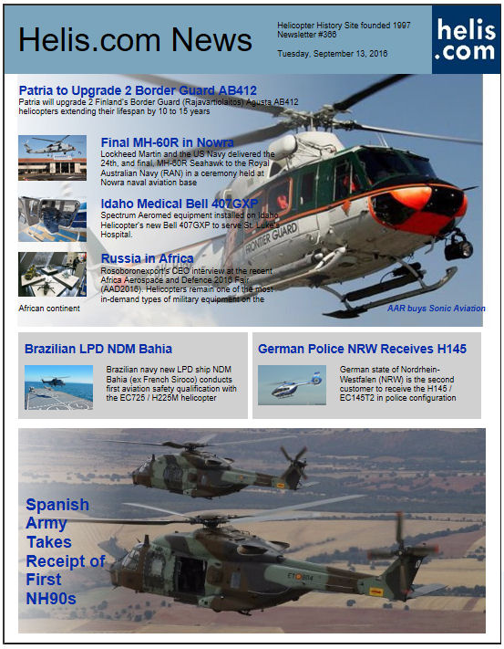 Helicopter News September 13, 2016 by Helis.com