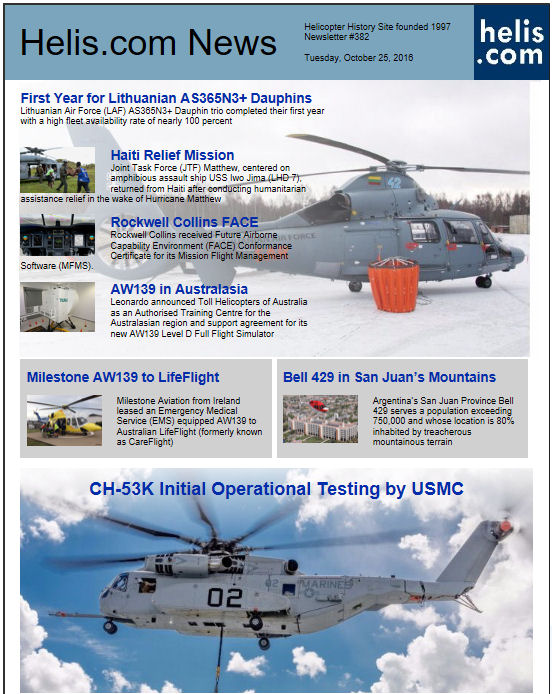Helicopter News October 25, 2016 by Helis.com