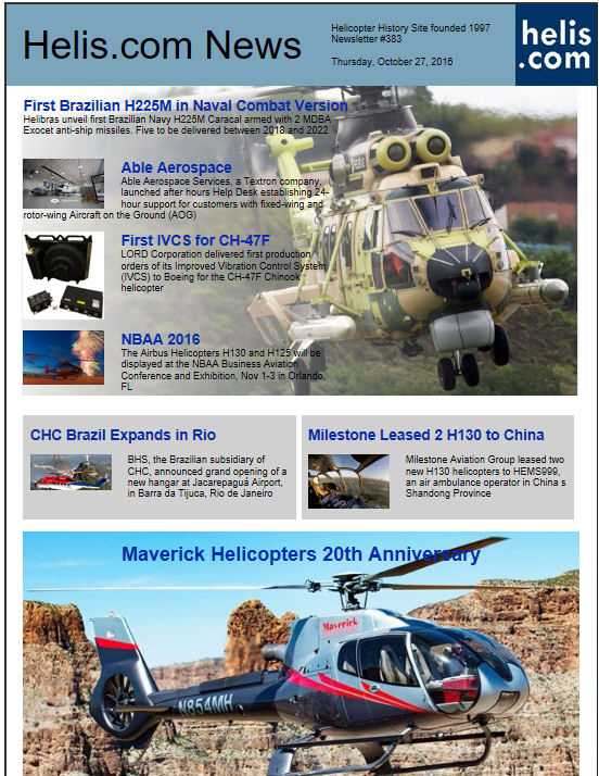 Helicopter News October 27, 2016 by Helis.com