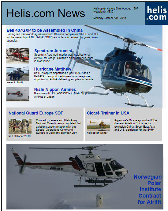 Helicopter News October 31, 2016 by Helis.com