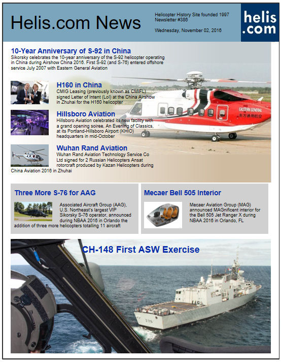 Helicopter News November 02, 2016 by Helis.com