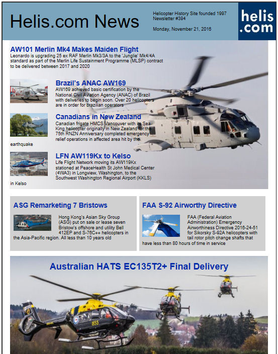 Helicopter News November 21, 2016 by Helis.com