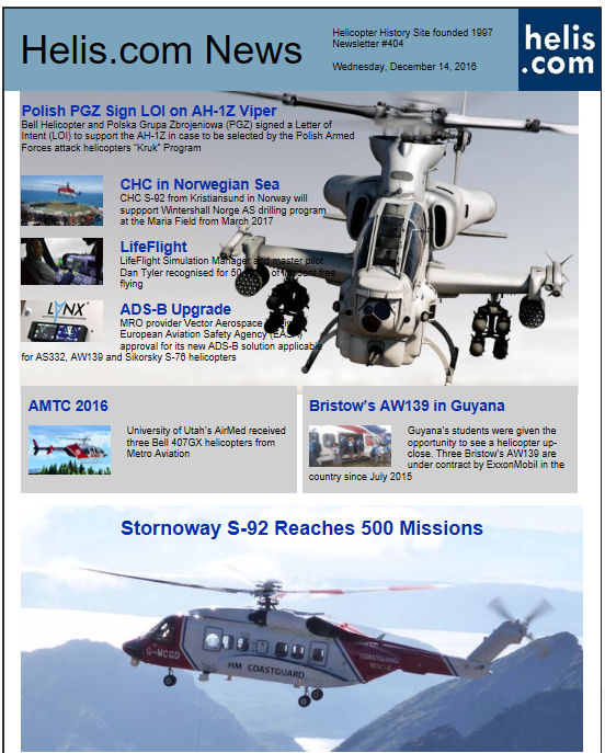 Helicopter News December 14, 2016 by Helis.com