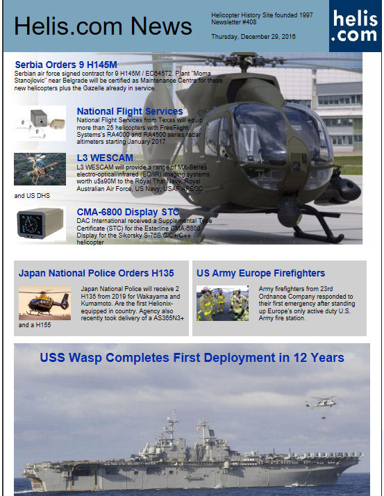 Helicopter News December 29, 2016 by Helis.com