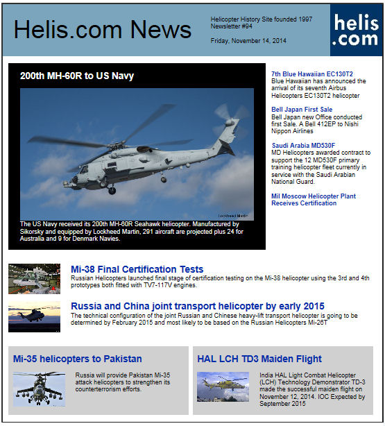 Helicopter News November 14, 2014 by Helis.com