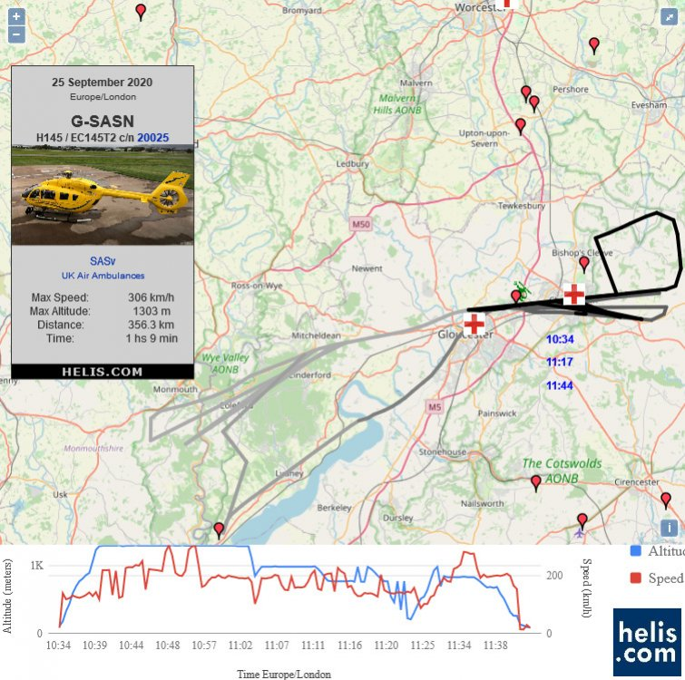 Airbus Helicopters H145 / EC145T2 RHD58    flight track ads-b
