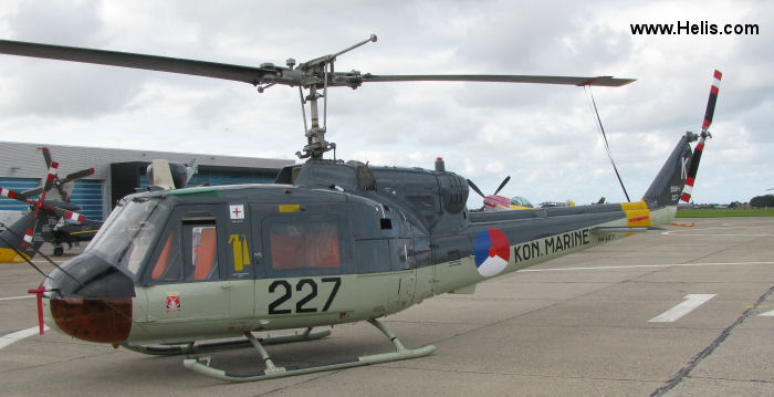 Helicopter Agusta AB204B Serial 3035 Register 227 PH-UEY used by Marine Luchtvaartdienst (Royal Netherlands Navy). Aircraft history