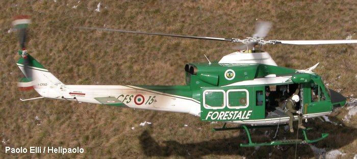 Helicopter Agusta AB412 Serial 25562 Register I-CFSO used by Vigili del Fuoco (Italian Firefighters) ,Corpo Forestale dello Stato (State Forestry Department). Built 1988. Aircraft history and location