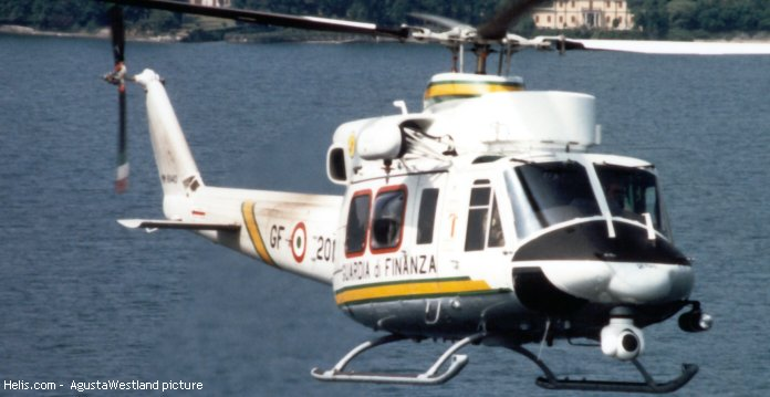 Helicopter Agusta AB412HP Serial 25701 Register MM81443 used by Guardia di Finanza (Italian Customs Police). Aircraft history and location