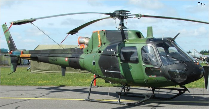 Helicopter Aerospatiale AS550C2 Fennec Serial 2234 Register P-234 used by Flyvevåbnet (Royal Danish Air Force). Built 1989. Aircraft history and location