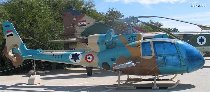 Helicopter Aerospatiale SA342L Gazelle Serial 1788 Register 907 used by Heil Ha'Avir IAF (Israeli Air Force). Aircraft history and location