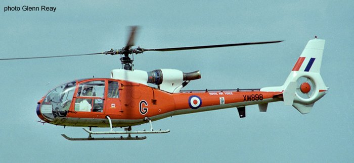 Helicopter Aerospatiale SA341D Gazelle HT.3 Serial 1191 Register G-CBXT XW898 used by Royal Air Force. Built 1974. Aircraft history