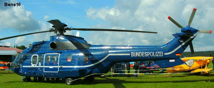 Helicopter Aerospatiale AS332L Super Puma Serial 2073 Register D-HEGI G-PUML LN-ODA used by Bundespolizei (German Federal Police (BPOL)) ,CHC Scotia ,Bond Aviation Group ,Helikopter Service. Built 1983. Aircraft history and location