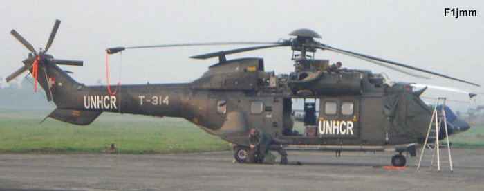 Helicopter Aerospatiale AS332M1 Super Puma Serial 2328 Register T-314 used by United Nations UN ,Schweizer Luftwaffe (Swiss Air Force). Built 1991. Aircraft history and location